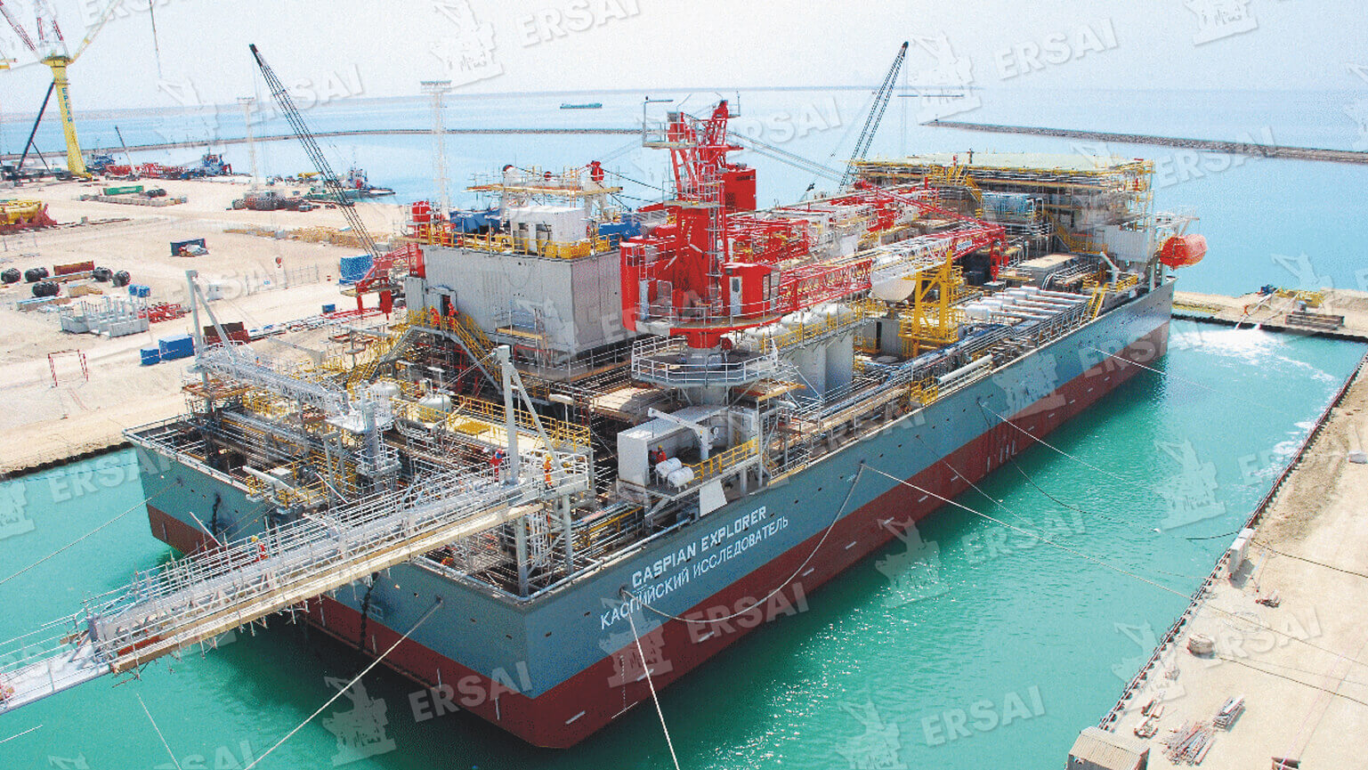 Construction of the Caspian Explorer Drilling Rig Barge